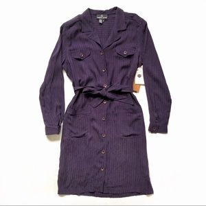 Carole Little Purple Long Sleeve Shirt Dress Sz 12
